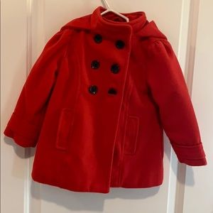 Red hooded pea coat